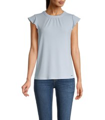 calvin klein women's flutter-sleeve top - light blue - size s