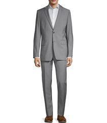 calvin klein men's skinny-fit stretch wool sharkskin suit - light grey - size 42 s