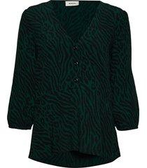 vivaldi print top blouse lange mouwen groen modström