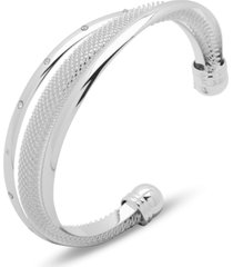 anne klein silver-tone pave & mesh overlapping cuff bracelet, created for macy's