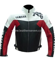 men mens yamaha r6 red cowhide leather motorcycle motorbike biker jacket