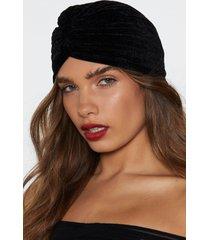 womens predicted it velvet turban - black