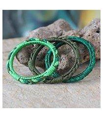 bangle bracelets, 'eden garden' (set of 3) (ghana)