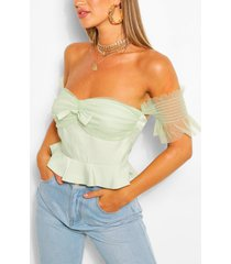 bow ruffle off the sleeve woven top, sage