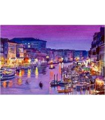 "david lloyd glover romantic venice night canvas art - 37"" x 49"""