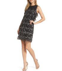 women's julia jordan sequin fringe sheath dress, size 10 - black