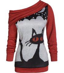 halloween skew neck convertible cat print sweater