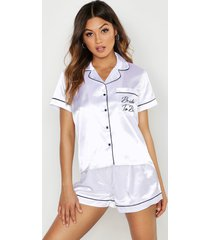 geborduurde satijnen bride to be pyjama set met shorts, wit