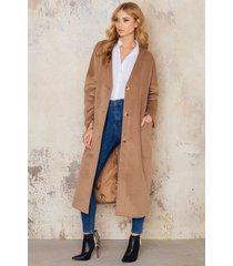 imvee loose big pockets coat - brown,beige