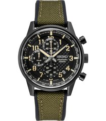 seiko men's chronograph essentials green nylon & silicone strap watch 42.7mm