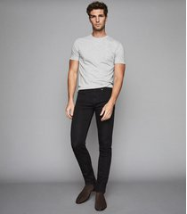 reiss lasoo - jersey stretch slim fit jeans in washed black, mens, size 38