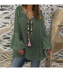zanzea mujeres más tapa del tamaño tee camiseta llano básico largas de la túnica de la blusa de la manga de bell -ejercito verde