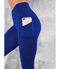yoins basics leggings de cintura alta con bolsillo azul diseño