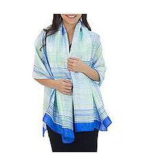rayon and silk blend shawl, 'cool blue plaid' (thailand)