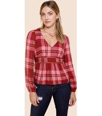 women's allison plaid ladder trim blouse in magenta by francesca's - size: l