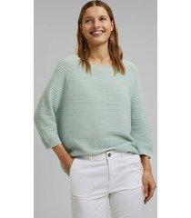 sweater mujer texturado liso con lino verde claro esprit