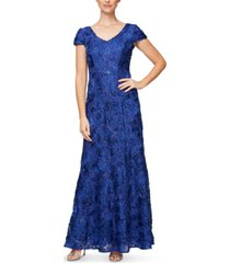 alex evenings cap-sleeve soutache gown