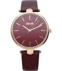 orologio solo tempo con cinturino in pelle color ciliegia, cassa oro per donna