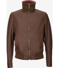 nappa leather bomber jacket with trainspotting stripe collar brown 48