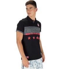 camisa polo ecko estampada e287a - masculina - preto
