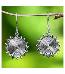 sterling silver dangle earrings, 'purnama sun' (indonesia)