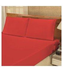 jogo de cama lençol solteiro bianca 02 peças - vermelho,