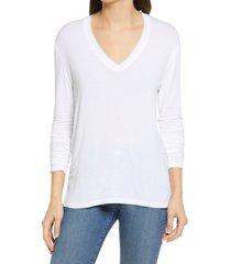 women's treasure & bond mineral wash long sleeve t-shirt, size large - white