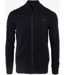vest gabbiano denim black vest jacquard stof en waterafstotende ritsen