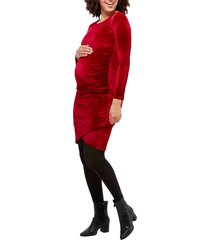 women's nom maternity clio long sleeve maternity dress, size medium - red