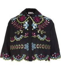 multicolor sangallo embroidered cotton voile shirt