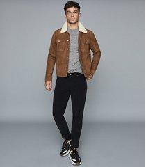 reiss blane - melange cotton blend t-shirt in grey, mens, size xxl