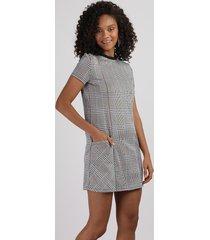vestido de jacquard feminino curto estampado xadrez com bolsos manga curta bege claro