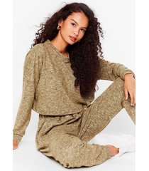 womens brushed cardigan bralet and jogger 3pc lounge set - khaki