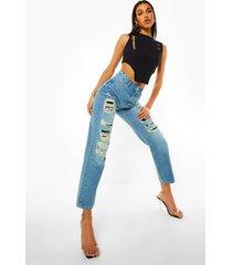 rip & repair spijkerbroek met hoge taille en rechte pijpen, mid blue