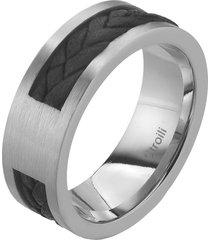 anello in acciaio e pelle per uomo