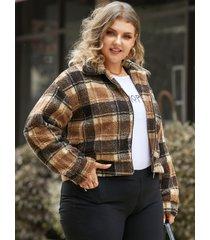 abrigo de manga larga con cremallera a cuadros y cuello de solapa de talla grande