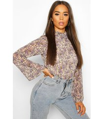 woven floral high neck blouse, ivory
