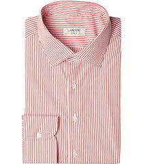 camicia da uomo su misura, canclini, righe rosse, quattro stagioni   lanieri