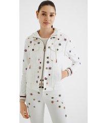bimaterial slim jean jacket - white - 46