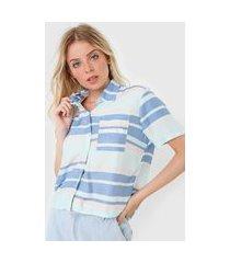 camisa hang loose waves beach azul/rosa