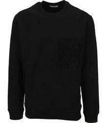 valentino crew-neck cotton sweatshirt with macramé pocket