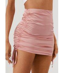 yoins minifalda de satén fruncido con cordón