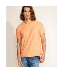 camiseta masculina básica flamê com bolso manga curta gola careca laranja