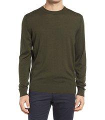 men's boss micolai wool blend crewneck sweater, size medium - green