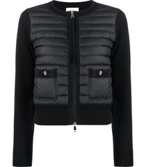 moncler padded panels zipped cardigan - black