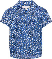 allover leopard print top s/s overhemd blauw tommy hilfiger