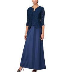 women's alex evenings embroidered lace mock two-piece gown with jacket, size 6 - blue