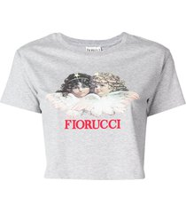 fiorucci vintage angels crop t-shirt - grey