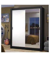 guarda-roupa solteiro madesa dallas 2 portas de correr com espelho 2 gavetas preto/branco cor:preto/branco