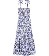 women's tory burch floral print tie shoulder midi cover-up dress, size x-large - blue